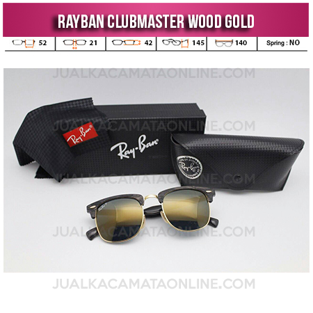 Jual Kacamata Rayban Clubmaster Wood Gold