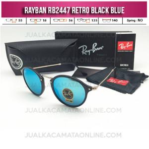 Jual Kacamata Rayban Retro RB2447 Black Blue
