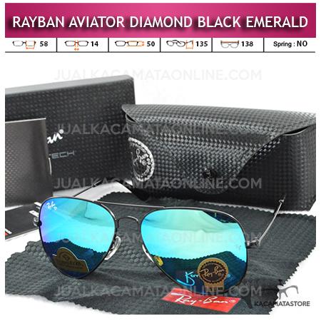 Harga Kacamata Rayban Aviator Diamond Black Emerald Lens