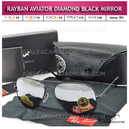 Jual Kacamata Rayban Aviator Diamond Black Mirror Lens
