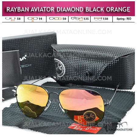Kacamata Rayban Aviator Diamond Black Orange Lens