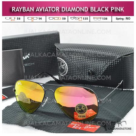 Kacamata Rayban Aviator Diamond Black Pink Lens