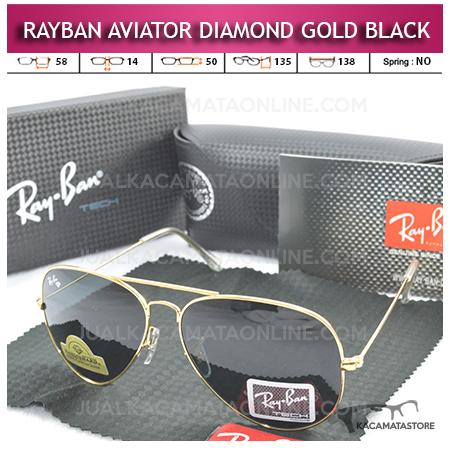 Jual Kacamata Rayban Aviator Diamond Gold Black Lens