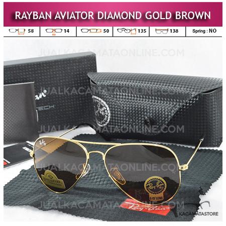 Jual Kacamata Rayban Aviator Diamond Gold Brown Lens