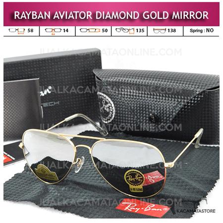 Harga Kacamata Rayban Aviator Diamond Gold Mirror Lens