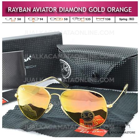 Kacamata Rayban Aviator Diamond Gold Orange Lens