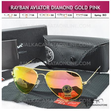 Kacamata Rayban Aviator Diamond Gold Pink Lens