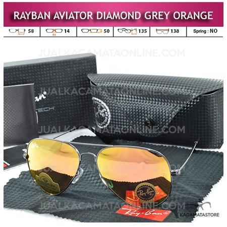 Jual Kacamata Rayban Aviator Diamond Grey Orange Lens