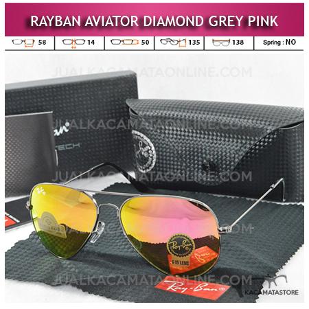 Kacamata Rayban Aviator Diamond Grey Pink Lens