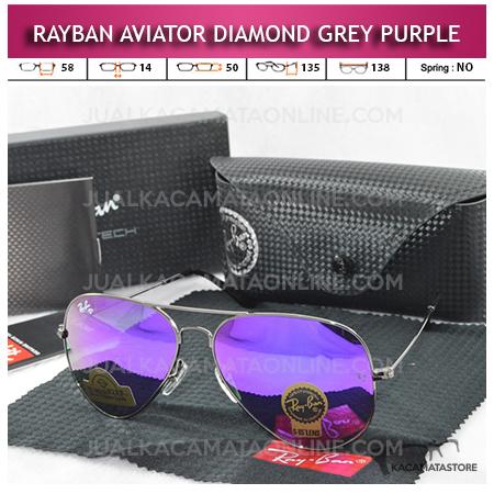 Jual Kacamata Rayban Aviator Diamond Grey Purple Lens