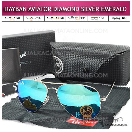 Jual Kacamata Rayban Aviator Diamond Silver Emerald Lens