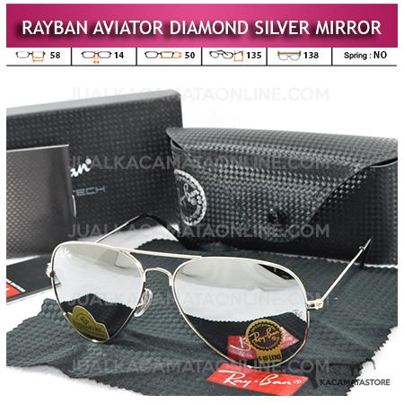 Jual Kacamata Rayban Aviator Diamond Silver Mirror Lens