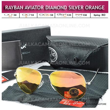 Jual Kacamata Rayban Aviator Diamond silver Orange Lens