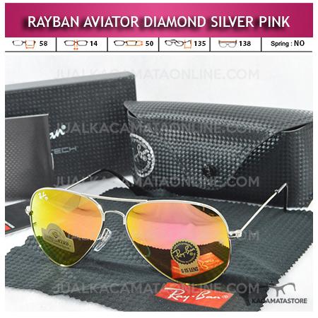 Jual Kacamata Rayban Aviator Diamond Silver Pink Lens