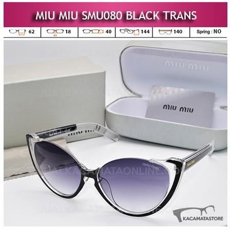 Model Kacamata Artis Miu Miu SMU080 Black Trans