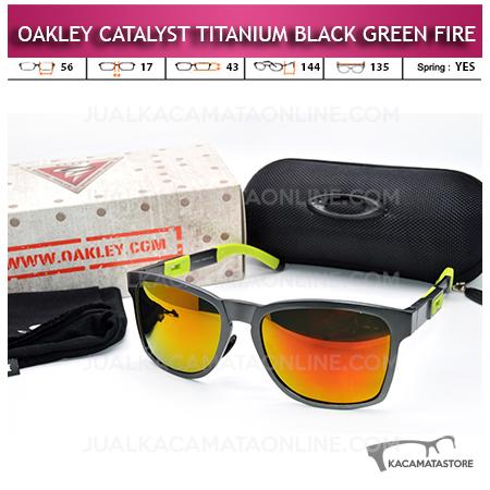 Kacamata Oakley Catalyst Titanium Black Green Fire