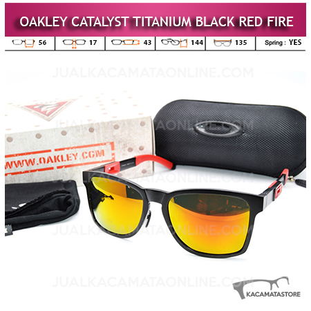 Jual Kacamata Oakley Catalyst Titanium Black Red Fire