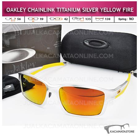 Tren Kacamata Oakley Terbaru Chainlink Titanium Silver Yellow  Fire