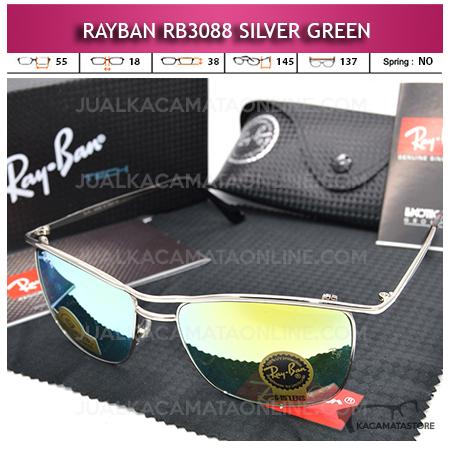 Kacamata Rayban Rb3088 Diamond Silver Green