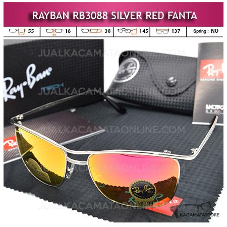 Kacamata Rayban Rb3088 Diamond Silver Red Fanta