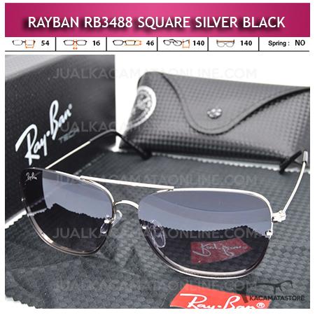 Kacamata Rayban Aviator Terbaru Rb3488 Square Silver Black