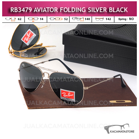 Model Kacamata Rayban Aviator Folding Silver Black