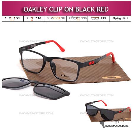 Kacamata Clip On Double Lensa Oakley Black Red