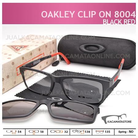Gambar Kacamata Double Lensa Clip On Oakley 8004 Black Red