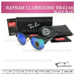 Jual Kacamata Rayban Terbaru Clubround Rb4242 Black Blue, Harga Kacamata Rayban, Model Kacamata Rayban Terbaru