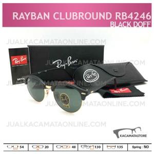 Jual Kacamata Rayban Terbaru Clubround Rb4242 Black Doff, Harga Kacamata Rayban, Model Kacamata Rayban Terbaru