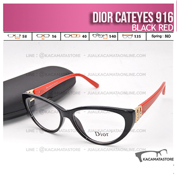 Harga Frame Kacamata Wanita Dior Cateyes 916 Black Red