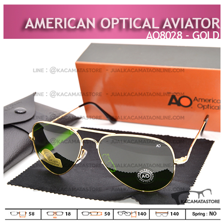 Jual Kacamata Pilot Penerbang American Optical Aviator AO8028 Gold
