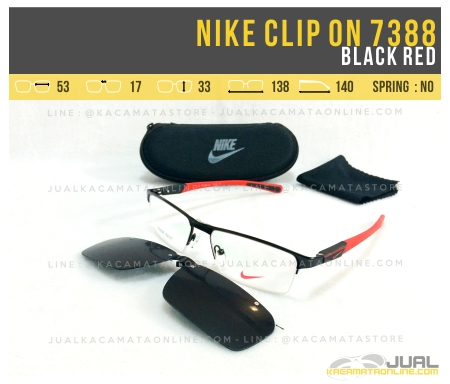 Jual Kacamata Clip On Nike 7388 Black Red