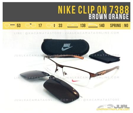 Model Kacamata Clip On Nike 7388 Brown Orange