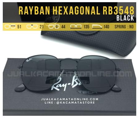 Model Kacamata Fashion Terbaru Rayban Hexagonal RB3548 Black