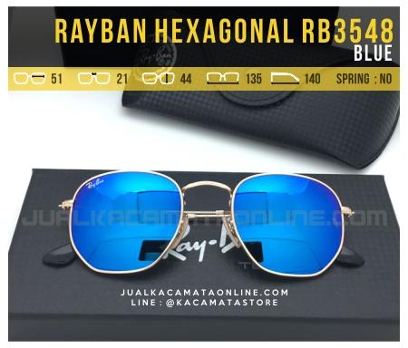 Grosir Kacamata Fashion Terbaru Rayban Hexagonal RB3548 Blue