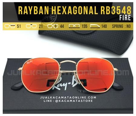 Trend Kacamata Fashion Terbaru Rayban Hexagonal RB3548 Fire