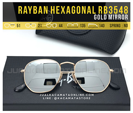 Gambar Kacamata Fashion Terbaru Rayban Hexagonal RB3548 Gold Mirror