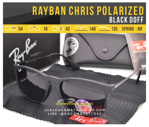 Model Kacamata Rayban Chris Polarized Black Doff