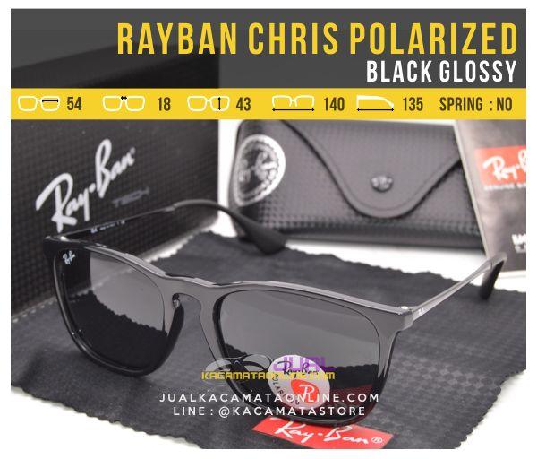 Jual Kacamata Rayban Chris Polarized Black Glossy