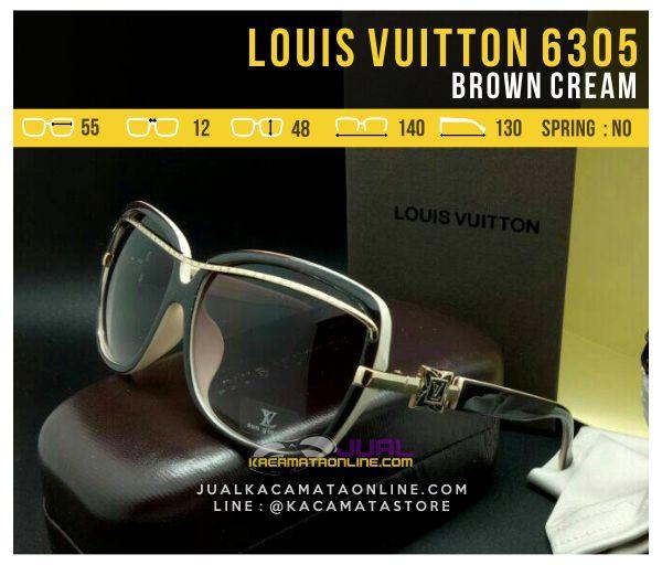 Jual Kacamata Cewek Terbaru Louis Vuitton 6305 Brown Cream