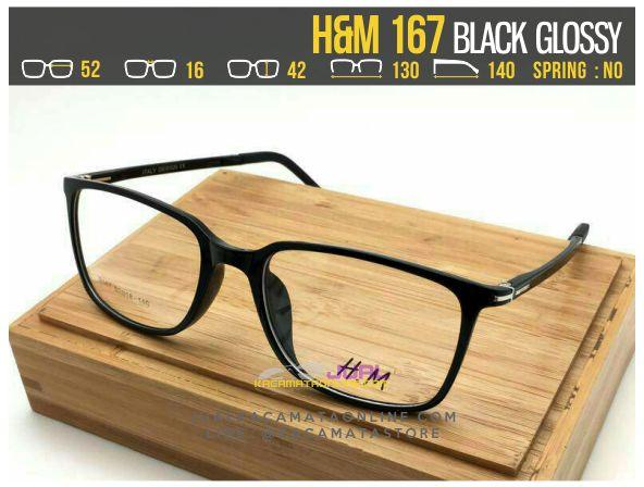Model Frame Kacamata Optik H&M 167 Black Glossy