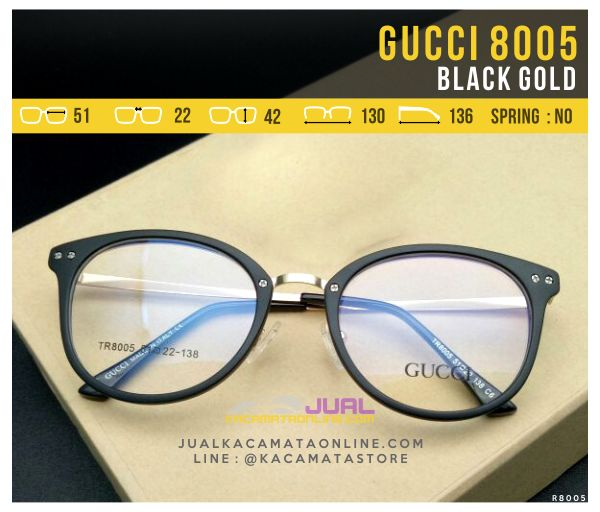 Model Frame Kacamata Wanita Gucci 8005 Black Gold