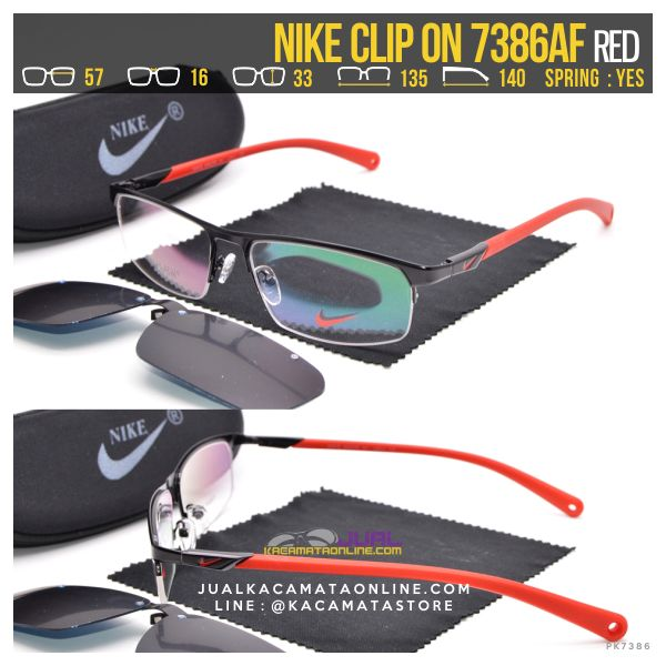Jual Kacamata Double Lensa Nike ClipOn 7386 Red