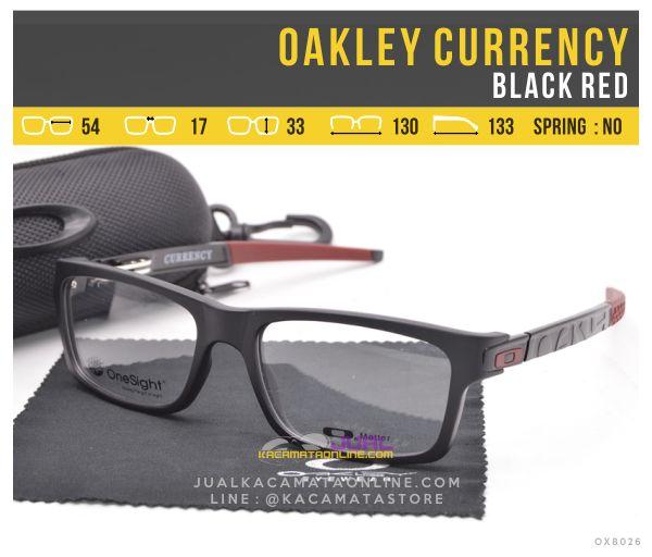 Frame Kacamata Minus Oakley Currency Black Red
