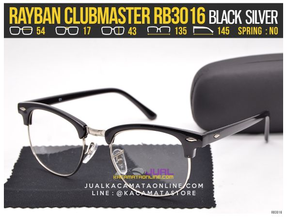 Harga Kacamata Minus Rayban Clubmaster RB3016 Black Silver