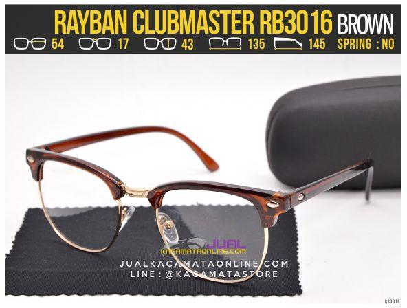 Trend Kacamata Minus Rayban Clubmaster RB3016 Brown