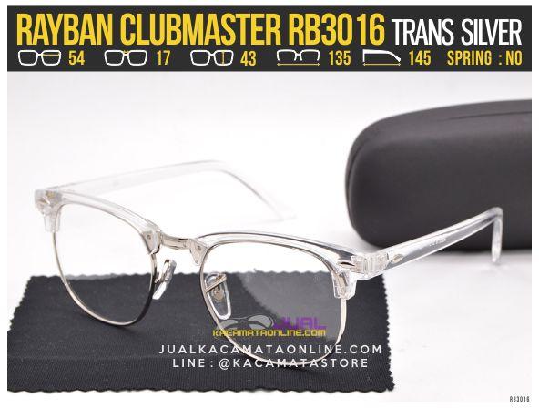 Jual Kacamata Minus Rayban Clubmaster RB3016 Trans Silver