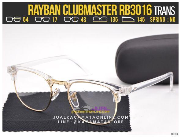 Model Kacamata Minus Rayban Clubmaster RB3016 Trans