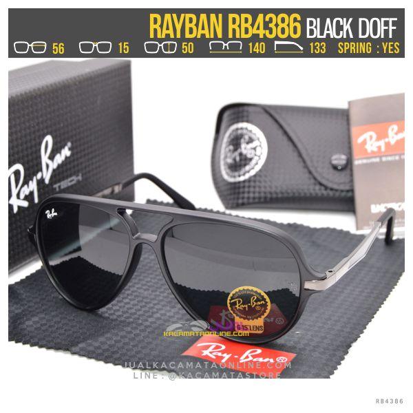 Jual Kacamata Retro Rayban Rb4386 Black Doff